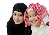 Portrait of little Arabic Muslim boy and girl — Stock Photo