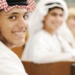 Education activities. Eastern traditional clothes. Oriental fashion. Happy success students together. — Stock Photo