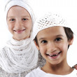 Brother and sister together, arabic muslim traditional clothes — Stock Photo