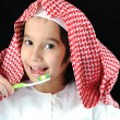 Arabic boy with toothbrush — Stock Photo