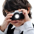 Arabic little kid boy, taking a photo — Stock Photo