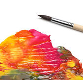 Brush and abstract acrylic painted background — Stok fotoğraf