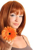 Portrait of young redheaded woman — Stock Photo