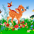 Smallest deer in the spring - Stock Vector