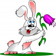 Rabbit and flower — Image vectorielle