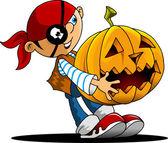 Funny boy and a pumpkin — Stock Vector