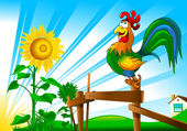 早上和一只公鸡 — 图库矢量图片