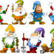 Stock Vector: Funny gnomes