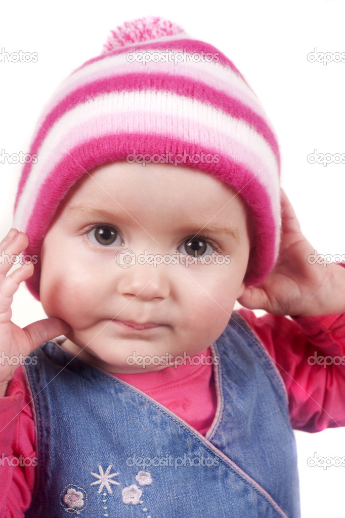 Bobble hat wearing toddler isolated on a white background — Stock Photo #12335428
