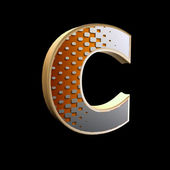 3d abstract letter with modern halftone pattern - C — Stock Photo