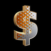 Abstract 3d dollar currency sign with halftone texture — Stock Photo