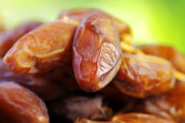 Fresh dates isolated on green background — Stock Photo