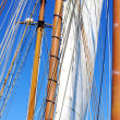 Old sailing ship masts and sails — Stock Photo