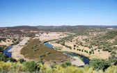 Landscape of valley and river near Barrancos, Portugal. — Stock Photo