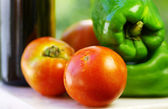 Tomato and green pepper — Stock Photo