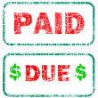 Paid and due stamp sign — Stock Photo