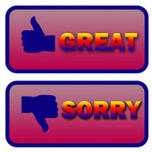 Thumbs up and down great and sorry signs — Stock Photo