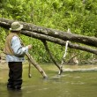 Stock Photo: Trout fisherman