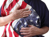 USA flag held by a veteran — Stock Photo