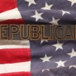 Flag with Republican word - Stock Photo