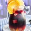 Stock Photo: Cold sangriin glass jug with condensate