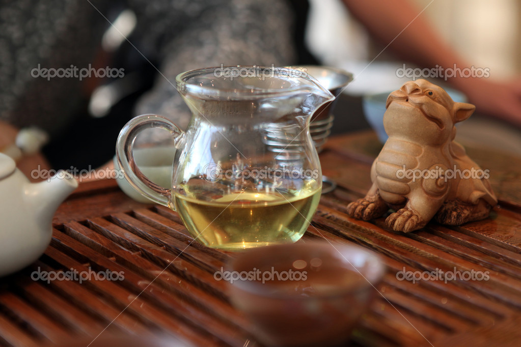 Chinese tea ceremony with ceramic dragon  Stock Photo #11420127