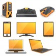 Computer icon (orange) — Stock Photo
