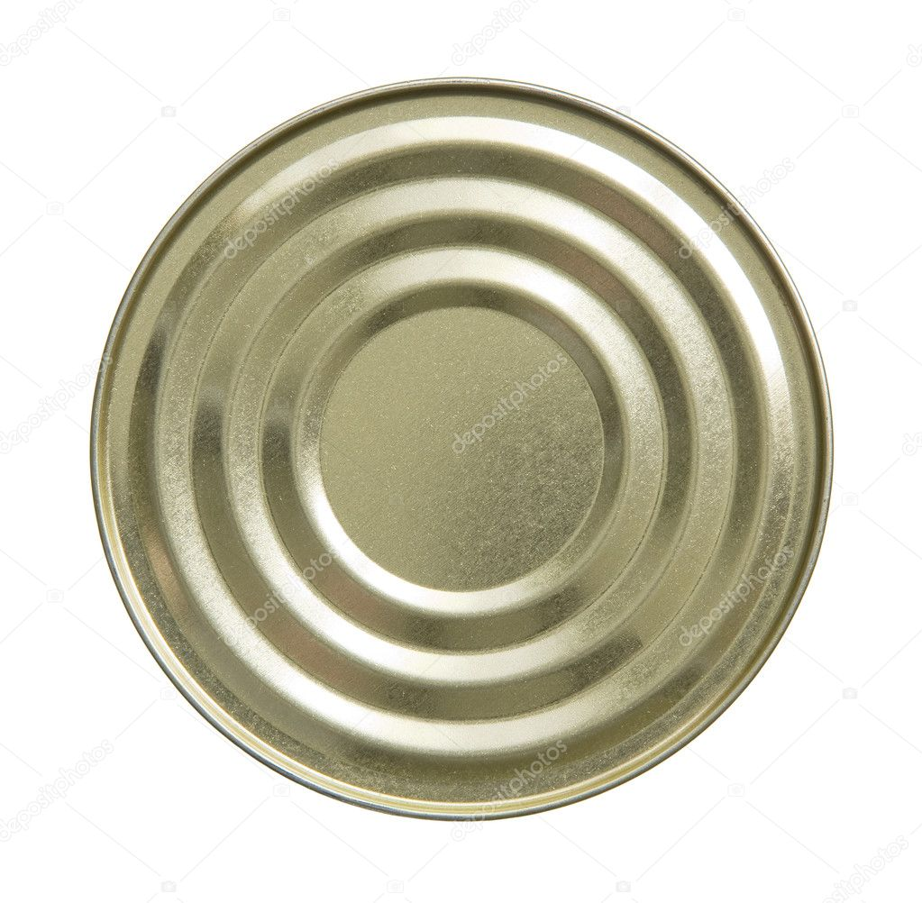 Close up top side of tin can on white background.  Stock Photo #11083335