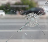 Crack in glass. — Stock Photo