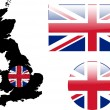 Great britain flag and map — Image vectorielle