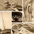 Yacht collage. Sailboat. Yachting concept — Stock Photo #11978406