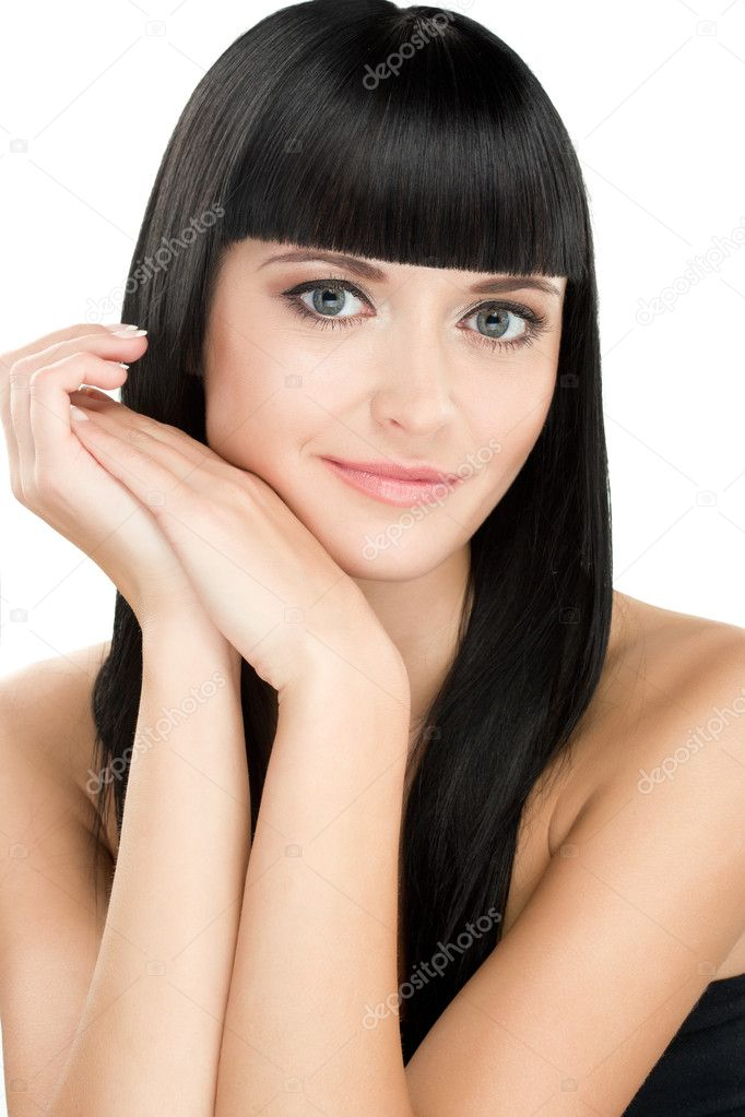 Close-up beauty portrait of young caucasian brunette with long hair — Stock Photo #11468201