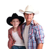 Cowboy Uncle and Nephew — Stock Photo