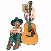 Two Little Cowboys With a Guitar — Stock Photo