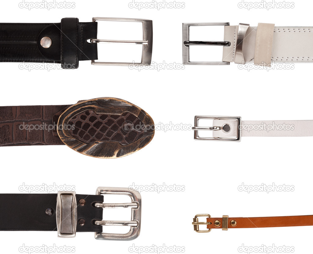 Six different buckles on belts over white background — Stock Photo #11368706