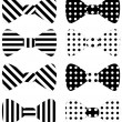 Set of black vector bow ties — Stock Vector
