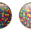 Glass Circle Button Colorful Dots — Stock Vector #10803321
