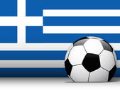 Greece Soccer Ball with Flag Background — Stock Vector