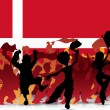 Denmark Sport Fan Crowd with Flag - Stock Vector