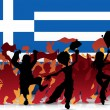 Greece Sport Fan Crowd with Flag — Imagens vectoriais em stock
