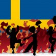 Sweden Sport Fan Crowd with Flag - 