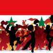 Syria Sport Fan Crowd with Flag - 