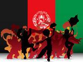Tłum wentylator sportu afganistan z flagą — Wektor stockowy