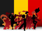 Belgium Sport Fan Crowd with Flag — Stock Vector