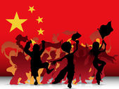 China Sport Fan Crowd with Flag — Stock Vector