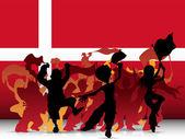 Dánsko sportovní fanoušek dav s příznakem — Stock vektor