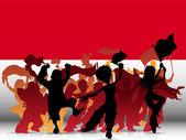 Folla di fan sport monaco con bandiera — Vettoriale Stock