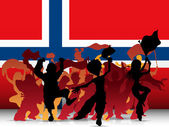 Norway Sport Fan Crowd with Flag — Stockvector