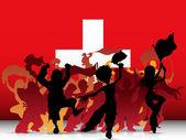 Switzerland Sport Fan Crowd with Flag — Stock Vector