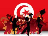 Turkiet sport fan publiken med flagga — Stockvektor